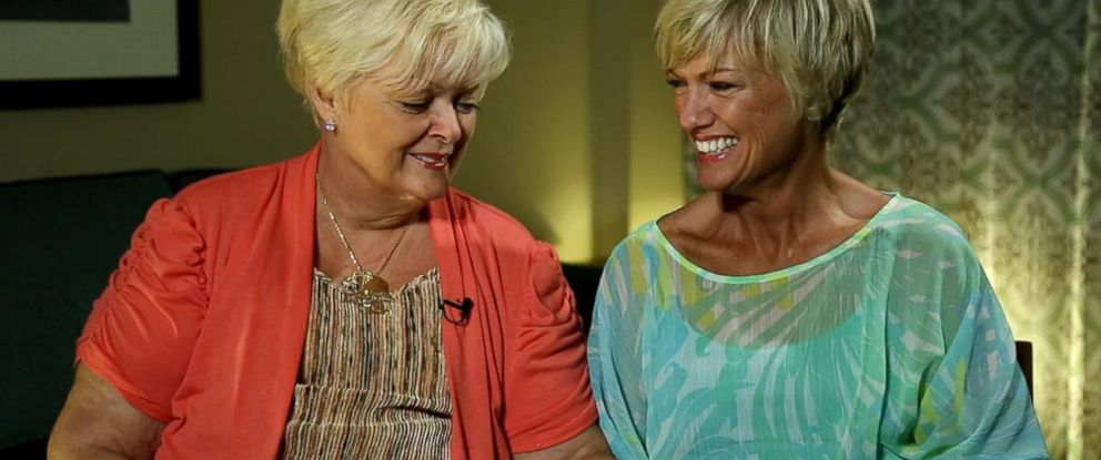 "Teresa Stinson, right, and her birth mother, Chris Shirley, left, were reunited during an interview with ""Nightline"" after being apart for 47 years."
