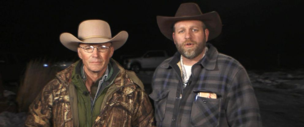 """PHOTO: Lavoy Finicum and Ammon Bundy speak with """"Good Morning America"""" on Jan. 4, 2016 from the Malheur National Wildlife Refuge facility near Burns, Ore."""