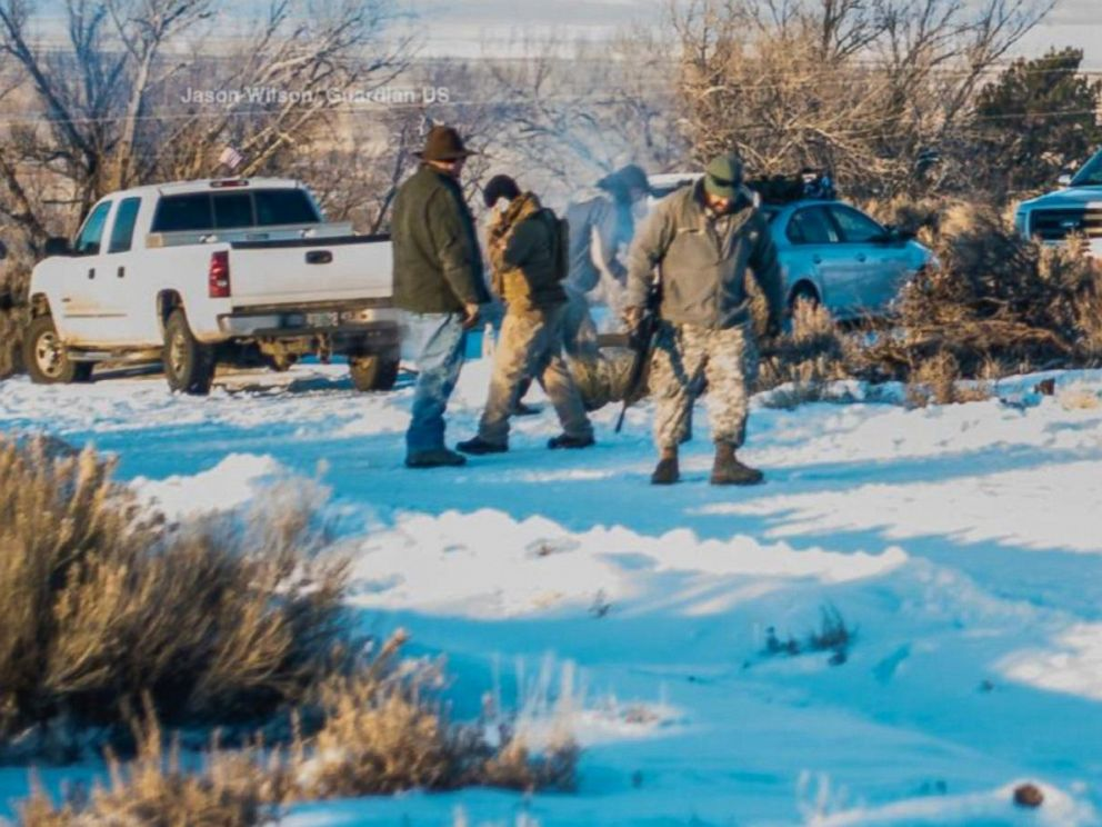 PHOTO: Armed militia members are pictured at the Malheur National Wildlife Refuge facility near Burns, Ore.