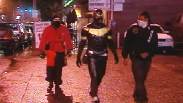 "PHOTO: ""Phoenix Jones"", center, was arrested, Oct. 9, 2011, for investigation of assault in Seattle."