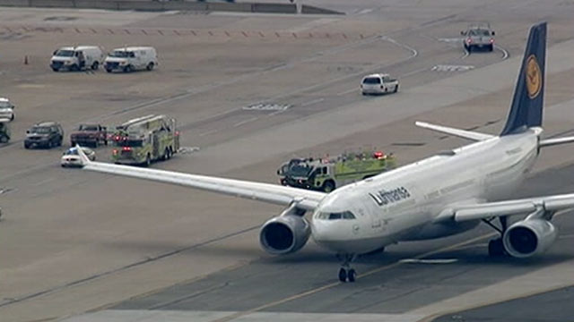 PHOTO:A Lufthansa Airbus A330 and a United Express commuter plane collided on a taxiway at Dulles, Aug. 10, 2012.