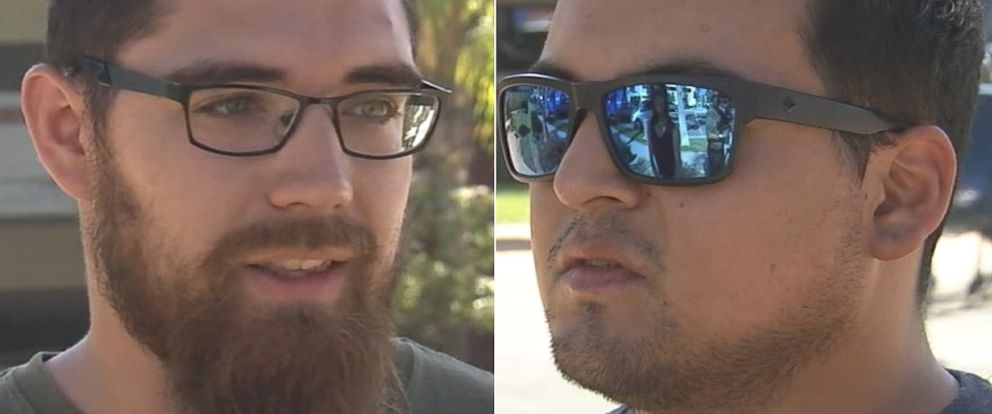 "PHOTO: Javier Soch, 27, and Seth Ortega, 24, said they were playing ""Pokemon Go"" when they stumbled upon a suspect later arrested by police in Fullerton, California, July 12, 2016."