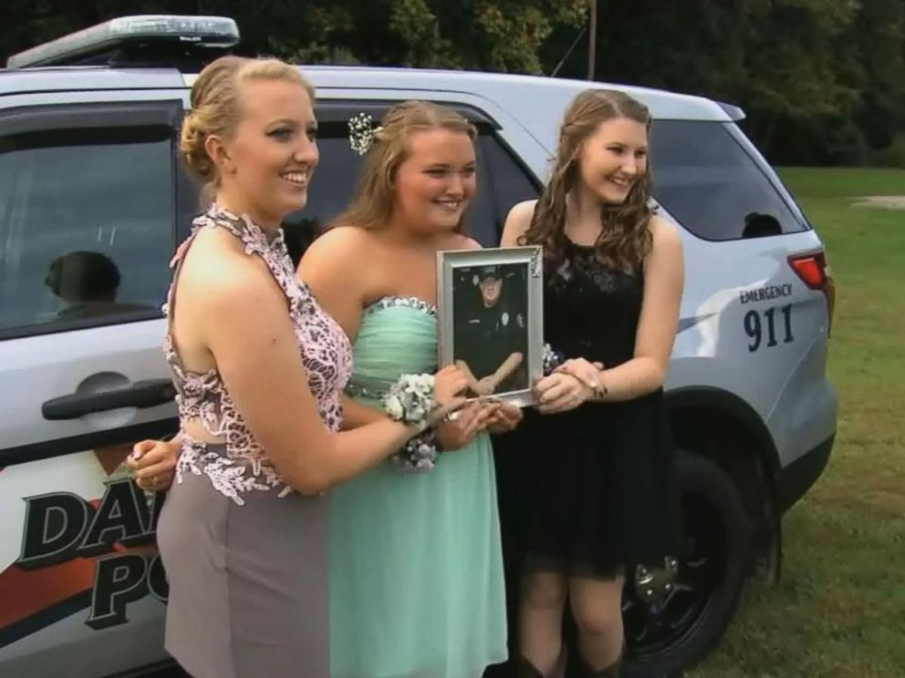 PHOTO: The daughters of fallen Officer Thomas Cottrell were escorted to their homecoming dance by members from the Danville Police Department.