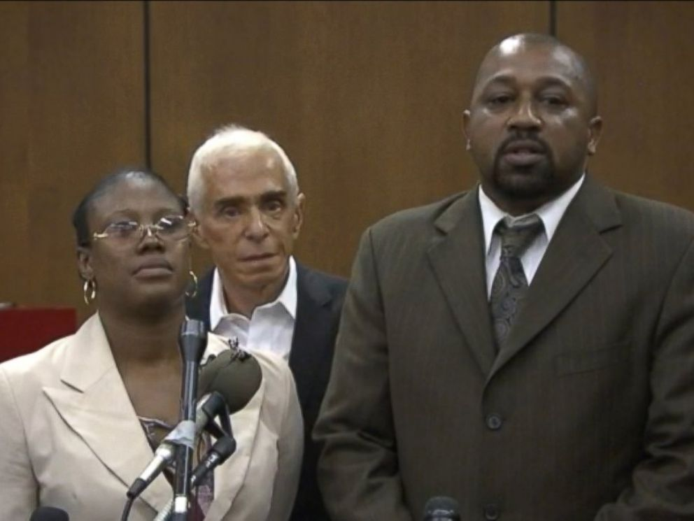 PHOTO: Walter Ray Simmons and Monica McBride, parents of Renisha McBride, speak in this frame grab after a guilty verdict is reached in the Theodore Wafer trial in Detroit, Aug. 7, 2014.