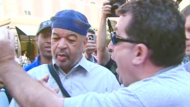 VIDEO: Cameras catch some heated exchanges between opposing protestors.