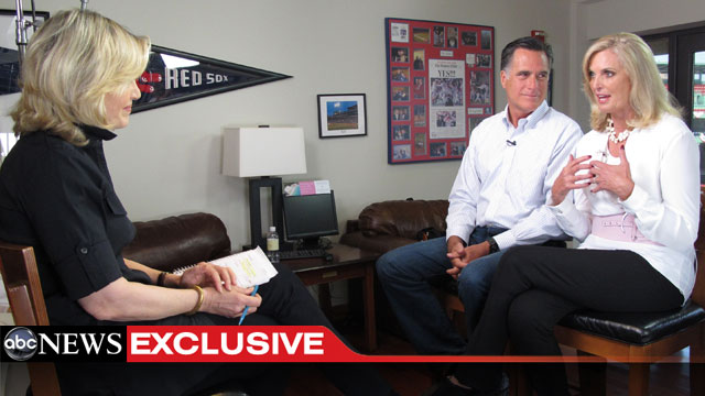 PHOTO: In a Diane Sawyer exclusive, Governor Mitt Romney and his wife Ann sit down for their first joint network interview.
