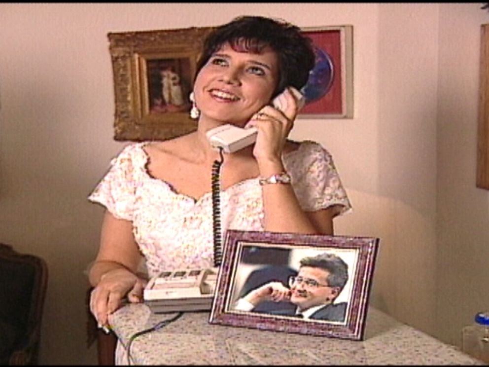 Rosalie Bolin is pictured here during her 1996 wedding over the phone to her husband Oscar Bolin, who is on death row at Florida State Prison.