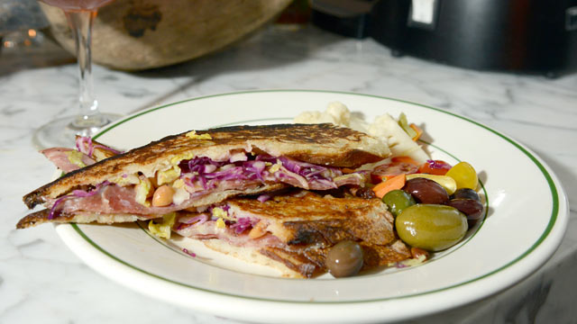 PHOTO: The Soppressata Panini made with spicy soppressata, pecorino Toscano and escarole on pressed ciabatta is served at Rosemary's in New York City, Oct. 4, 2012.