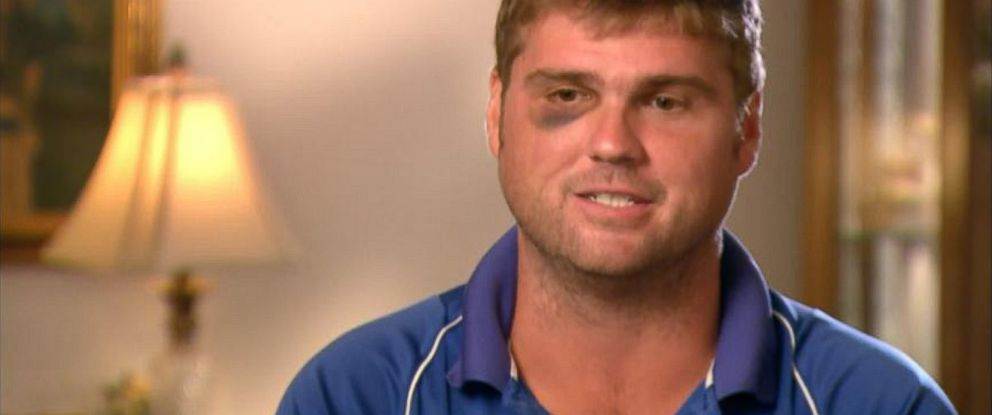 PHOTO: Ryan Campbell is seen being interviewed on Good Morning America after surviving a 60ft fall while sleepwalking.