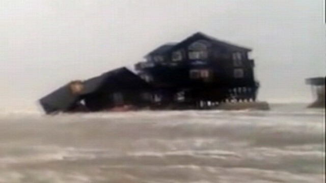 VIDEO: A home in Rodanthe, N.C.,=, is overtaken by Hurricane Sandy's storm surge.