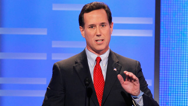 PHOTO: Rick Santorum speaks during the live ABC News Republican Presidential debate at Drake University in Des Moines, Iowa, December 10, 2011.