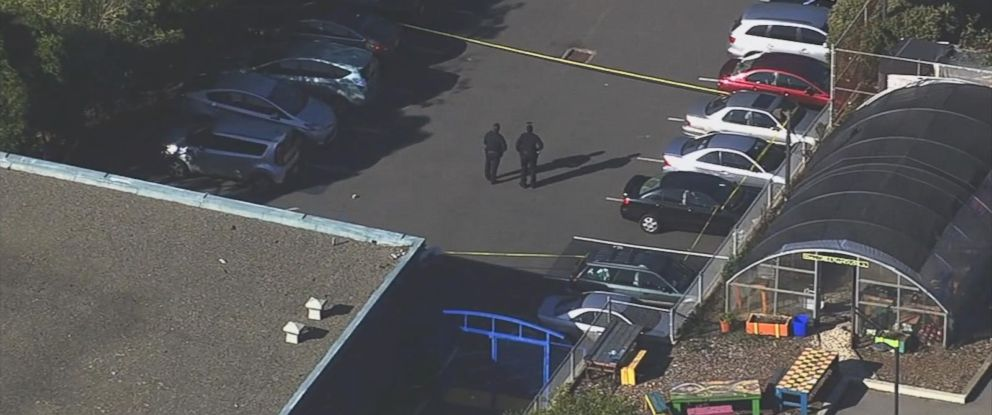 PHOTO: San Francisco Police investigate a shooting at June Jordan School for Equity that left four students injured, Oct. 18, 2016.