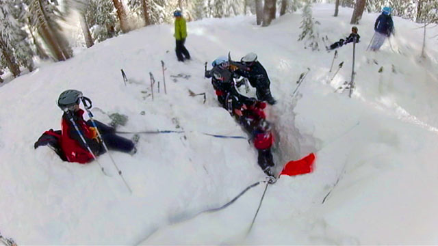 PHOTO: A woman was trapped under snow upside down with little air for nearly 30 minutes.