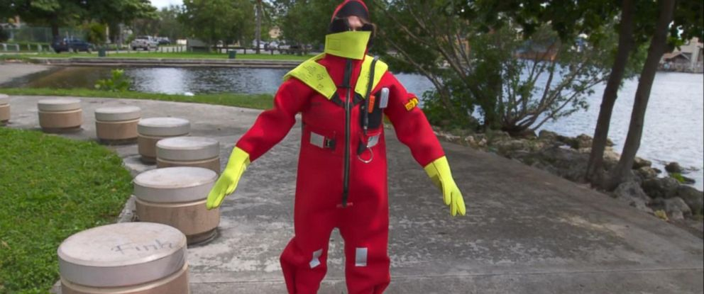 PHOTO: These immersion suits are intended to keep the wearer upright and protect them from hypothermia while in the water.