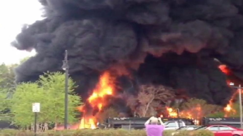 A freight train carrying crude oil derailed in Lynchburg, Virginia.