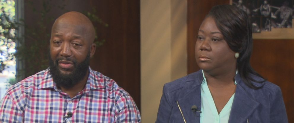 "Trayvon Martins parents Tracy Martin (left) and Sybrina Fulton (right) are seen here during an interview with ""Nightline."""