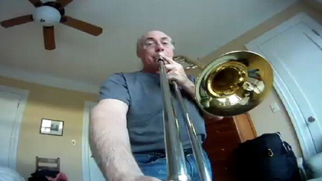 VIDEO: David Finlayson captured a unique angle of himself playing the trombone.