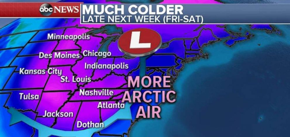 PHOTO: Arctic air is going to slam into the Midwest and South late next week.