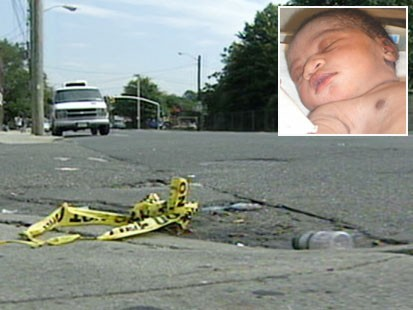 """Picture of streetcorner and """"Baby Hope."""""""
