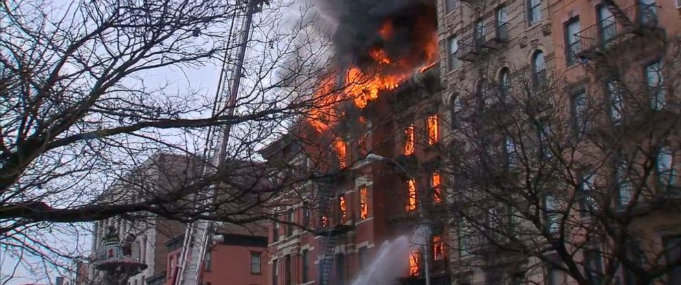 PHOTO: A building collapse and fire in lower Manhattan New York, on March 26, 2015.