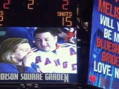 VIDEO: A hockey fans marriage proposal fails at a NY Rangers game, but was it a hoax?