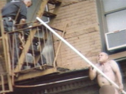 VIDEO: A naked man falls off a buildings ledge during stun gun encounter with NYPD.