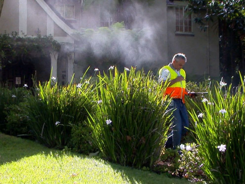PHOTO: Rick Silva, who works with the Los Angeles Department of Water and Power, patrols neighborhoods in the area to make sure residents are not wasting water.