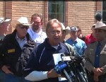 PHOTO: West mayor pro tem Steve Vanek talks to the media in front of city hall Saturday, April 20, 2013, three days after an explosion at a fertilizer plant in West, Texas.