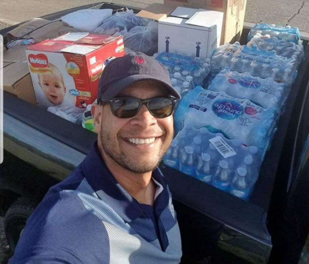 Abel Arocho with supplies he and others collected for hurricane victims in Puerto Rico, January 2018.