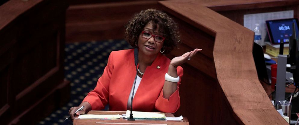 PHOTO: Senator Linda Coleman-Madison (D) speaks during a state Senate vote on the strictest anti-abortion bill in the United States at the Alabama Legislature in Montgomery, Ala. May 14, 2019.