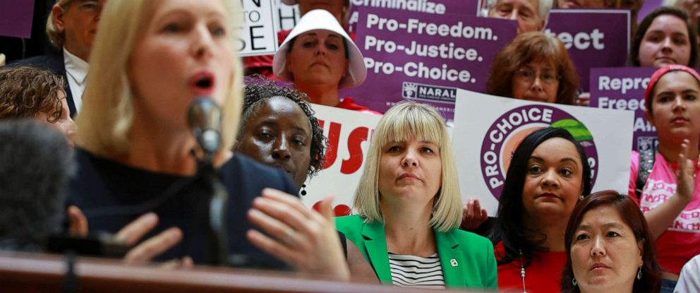 PHOTO: Senator Kirsten Gillibrand speaks after holding a roundtable discussion with abortion providers, health experts, pro-choice activists, and state legislators at the Georgia State House in Atlanta, May 16, 2019.
