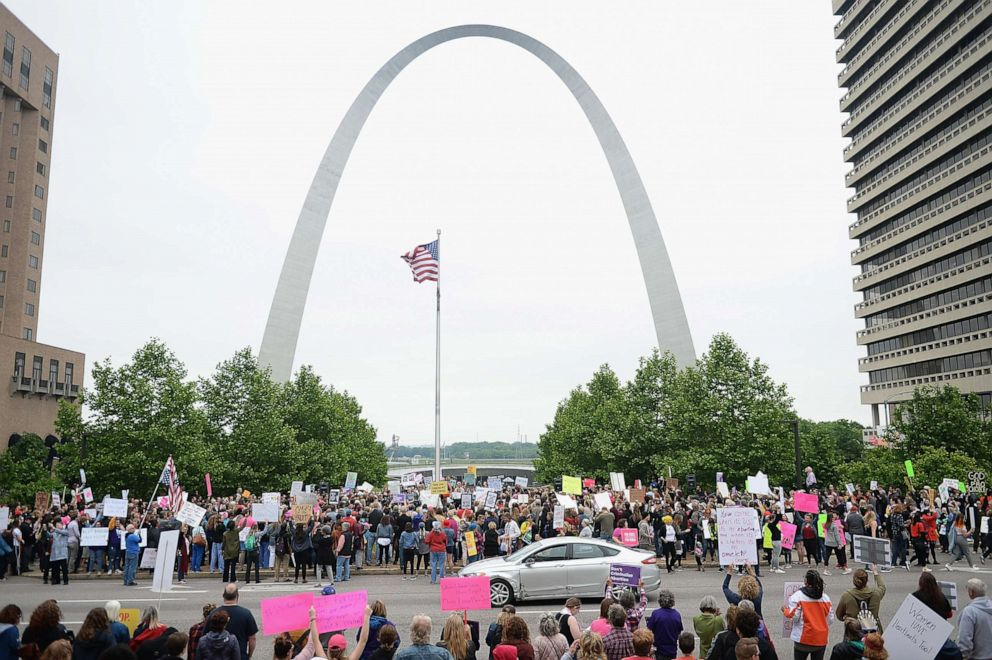 PHOTO: Hundreds of women and supporters attend a protest rally over recent restrictive abortion laws, May 21, 2019 in St Louis, Missouri.