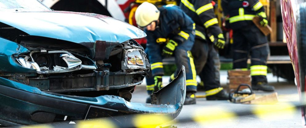 PHOTO: Firefighters attend to a car accident scene in this undated stock photo.