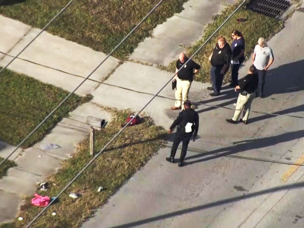 PHOTO: Police investigate an incident in Tampa, Fla., Nov. 1, 2018, in which multiple children waiting for a school bus with their parents were struck by a car and injured, according to police.