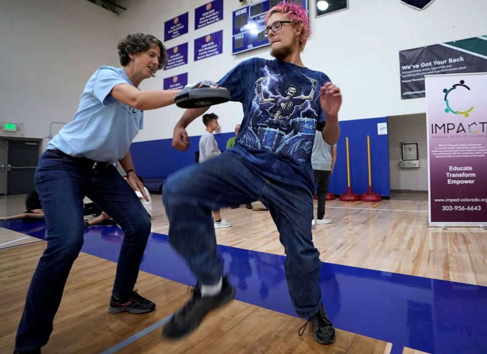 PHOTO: Pinnacle Charter School high school student Gregory Younce practices self-defense with trainer Alexis Halkovic during training for an active shooter situation in a school in Thornton, Colorado, Aug. 28, 2019.