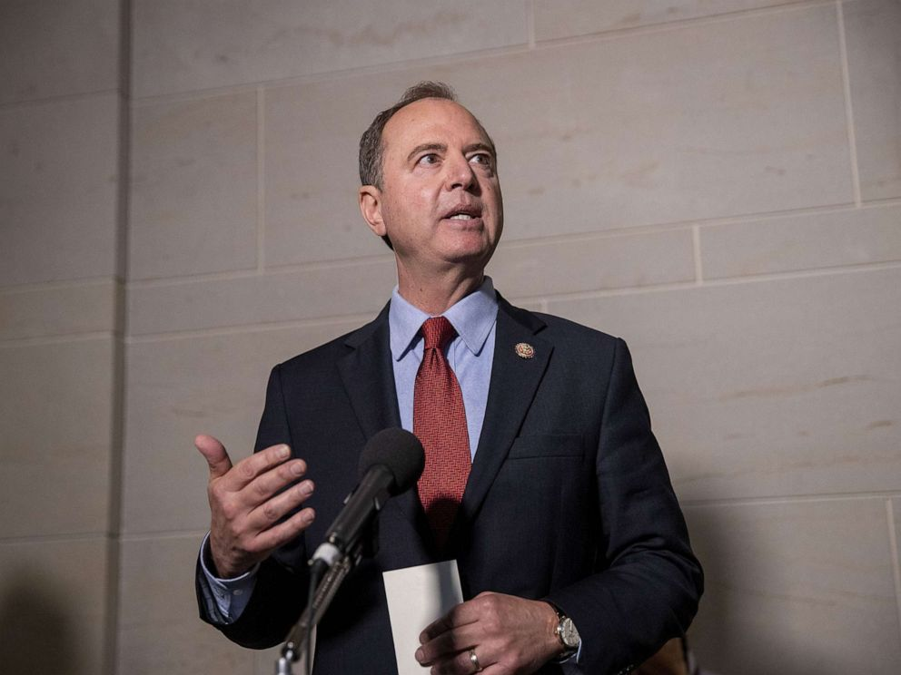 PHOTO: Rep. Adam Schiff, Chairman of the House Select Committee on Intelligence Committee speaks at a press conference at the Capitol on October 08, 2019, in Washington, D.C.