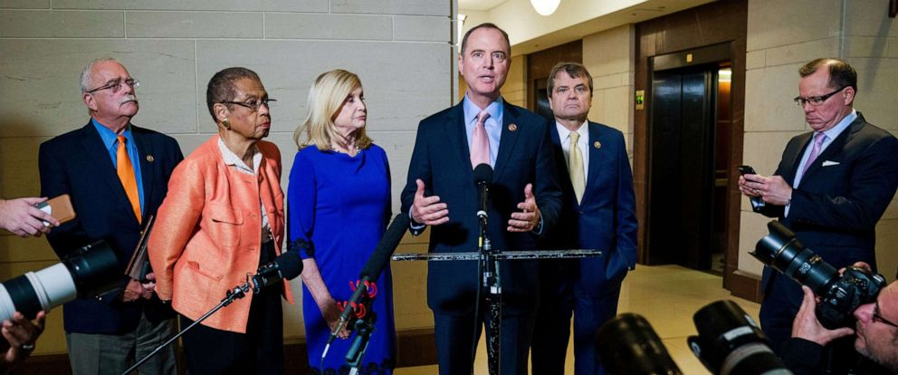 PHOTO: Chairman of the House Permanent Select Committee on Intelligence Adam Schiff announces the first public hearings of the Presidents impeachment inquiry at the Capitol in Washington, Nov. 6, 2019.
