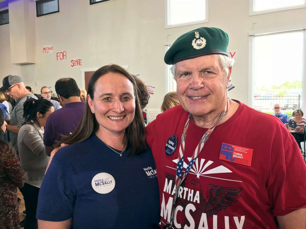 PHOTO: Adrenne Kelley, left, and her uncle Chris Brant said that McSallys military background is an important factor in their support for her campaign.