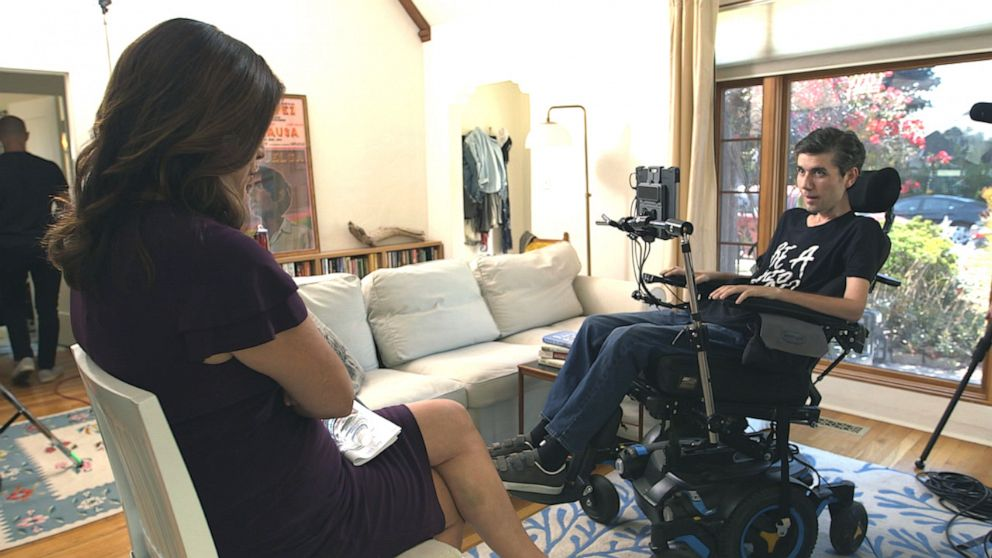 PHOTO: Health care activist Ady Barkan is seen here with Nightline co-anchor Juju Chang during an interview for Nightline.