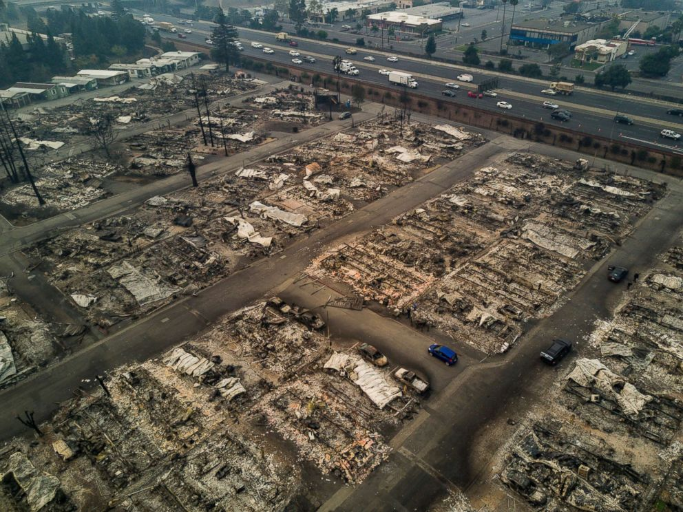 PHOTO: A view of Journeys End Mobile Home Park after a wildfire passed through in Santa Rosa, Calif., Oct. 10, 2017.