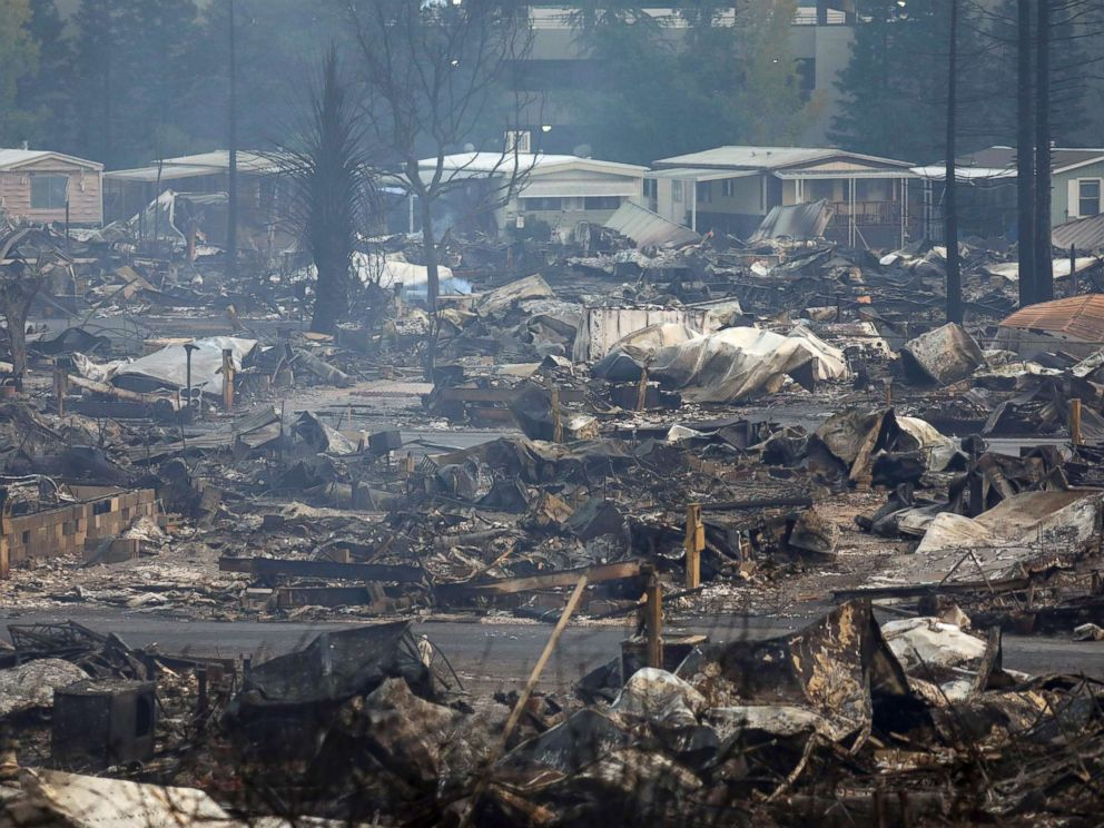 PHOTO: Destroyed homes at the Journeys End Mobile Home Park after a wildfire passed through in Santa Rosa, Calif., Oct. 9, 2017.