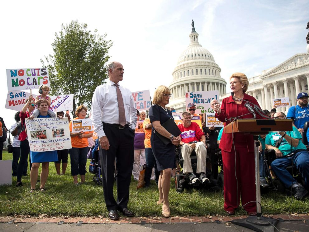 PHOTO: Sen. Bob Casey and Sen. Maggie Hassan look on as Sen. Debbie Stabenow speaks during a news conference in opposition to the Graham-Cassidy health care bill, Sept. 26, 2017, in Washington, D.C.