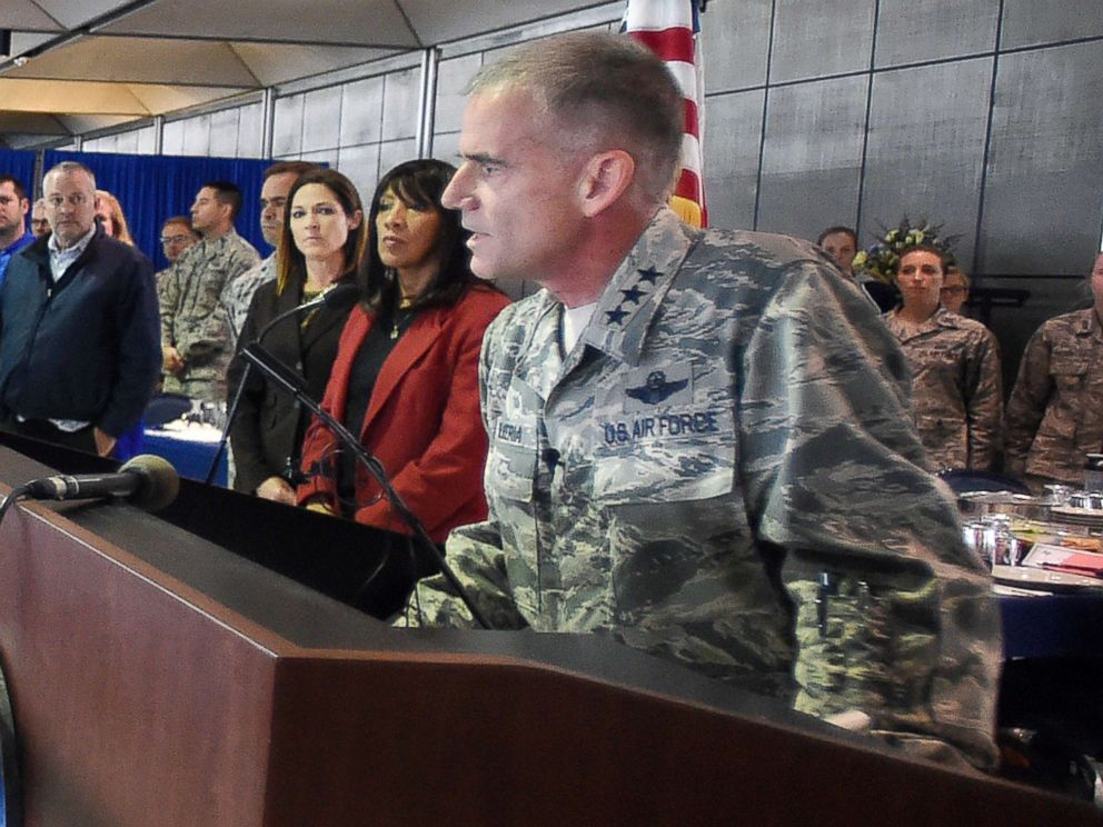 PHOTO: Academy superintendent Lt. Gen. Jay Silveria speaks about race relations to U.S. Air Force cadets during lunch at the Air Force Academy in Colorado Springs, Colo., Sept. 29, 2017.