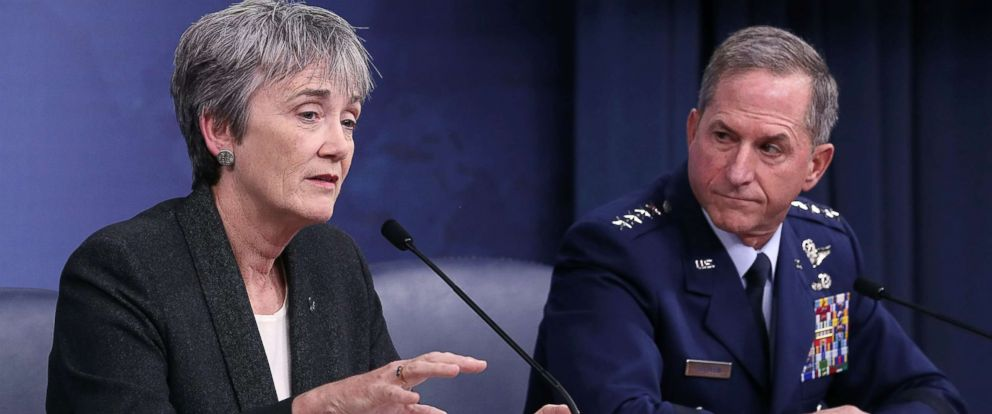 PHOTO: Air Force Secretary Heather Wilson and Air Force Chief of Staff Gen. David Goldfein brief the media on the state of the Air Force and the situation with Texas Church shooter Devin Kelley, at the Pentagon on Nov. 9, 2017 in Arlington, Va.