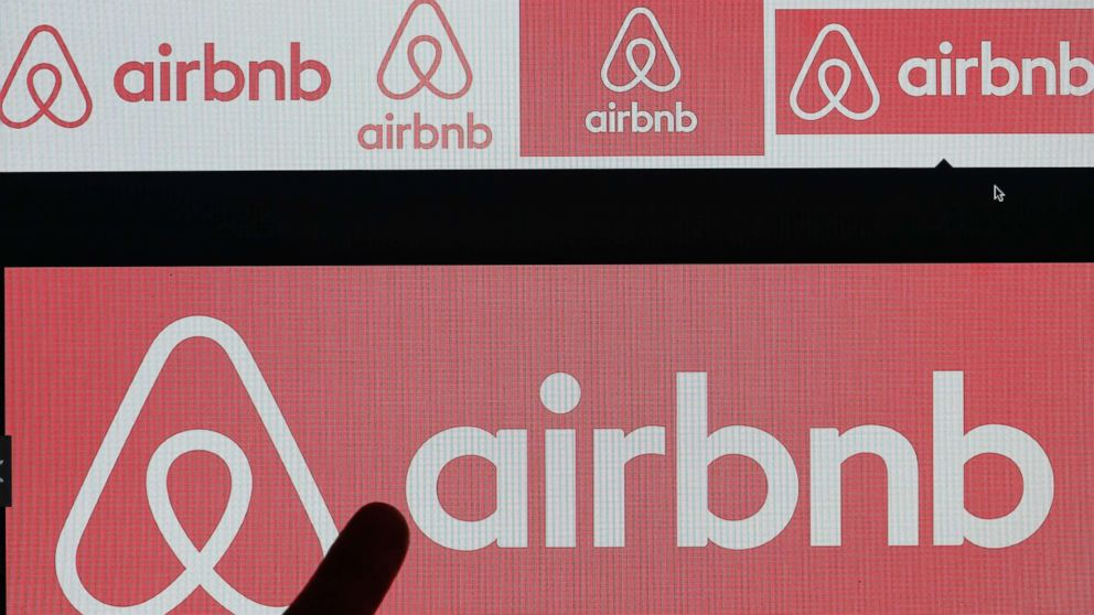 Airbnb logo is displayed on a laptop screen on Dec. 11, 2017 in Paris.