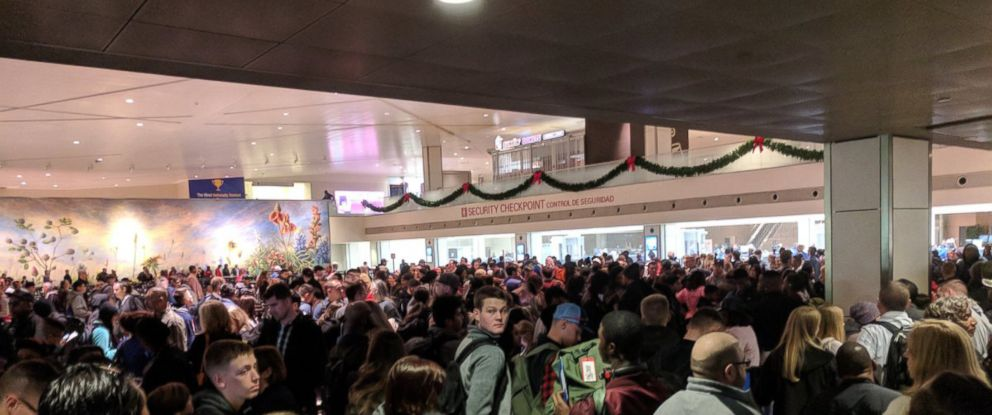 "PHOTO: Ralph Pugh posted this photo on Twitter with this caption: ""Security line @DallasLoveField after evacuation..."" Dec. 22, 2017."