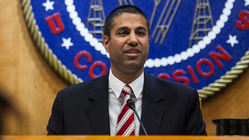Ajit Pai, chairman of the Federal Communications Commission (FCC), speaks during an open meeting in Washington, D.C., Nov. 16, 2017.