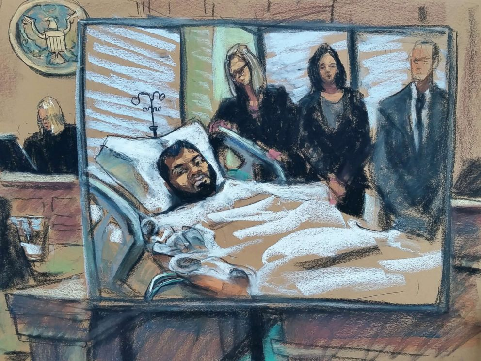 PHOTO: Akayed Ullah, the man accused of detonating an explosive in a New York City subway passageway, made his initial appearance before a federal judge via video from his hospital bed, Dec. 13, 2017.