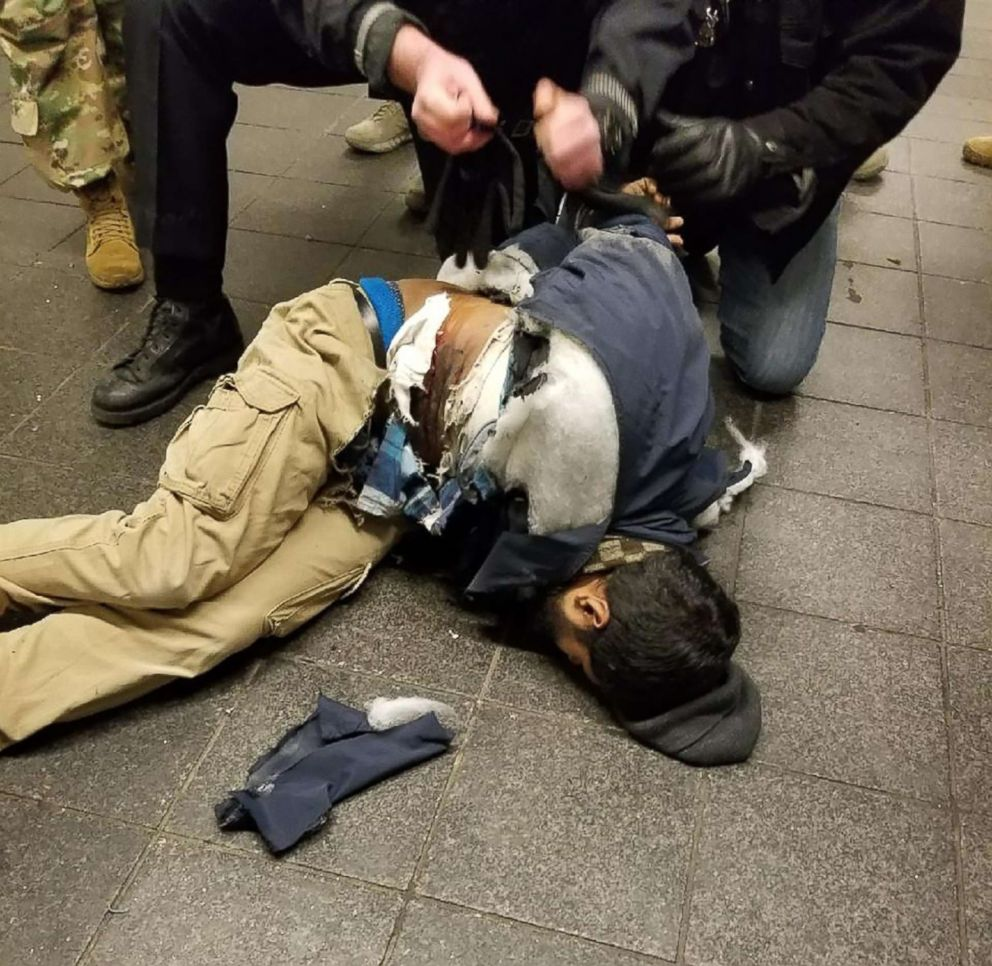 PHOTO: Police take down Akayed Ullah in New York in a photo widely shared on social media, Dec. 11, 2017.