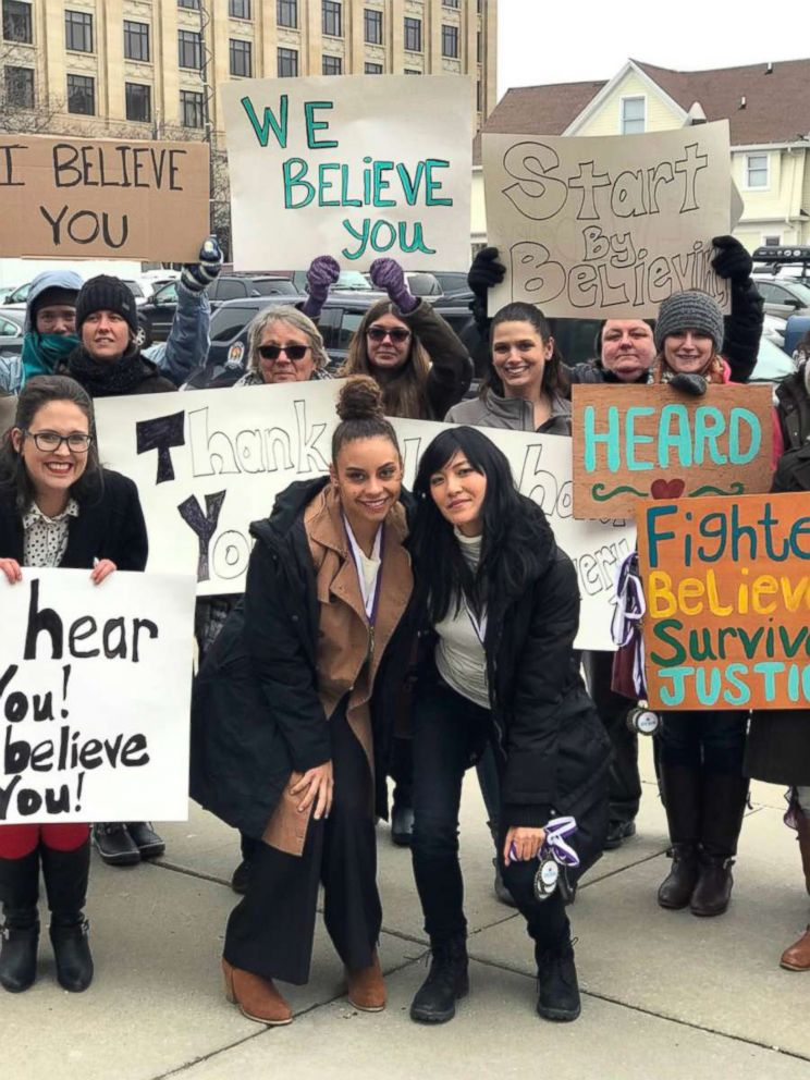 PHOTO: Outside of the #larrynassar sentencing. Thank you to these incredible, supportive women braving to cold to welcome us as leave the court.